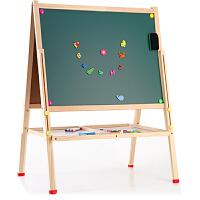 教学白板黑板支架式 实木儿童磁性大号写字板画板架移动升降