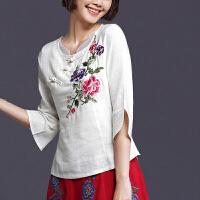民族风女装上衣女夏装新款中国风复古中袖衬衣棉麻七分袖绣花衬衫