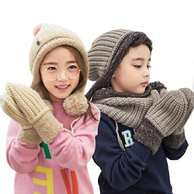 kk树秋冬款儿童手套加厚保暖男女童宝宝手套冬小孩五指手套加绒潮同款帽子围脖有售 加绒内里