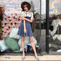 夏装新款花朵蝴蝶结上衣+收腰小吊带+高腰大摆半身裙套装