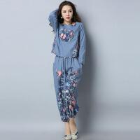 棉麻两件套秋装新款民族风女装长袖t恤+长款灯笼裤中国风套装