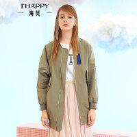 海贝2017秋装新款女装外套  立领撞色贴画长袖宽松休闲中长款夹克