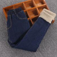 韩版儿童冬季棉裤10岁女童加绒加棉牛仔裤女孩加厚长裤子