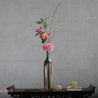 粉色玫瑰搭配艺术花瓶 飘逸灵动蒲公英装饰花 新中式花艺