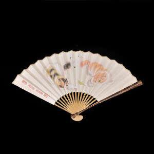 现代苏工棕竹葫芦头扇(配手绘扇面)