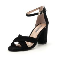 菲伯丽尔(Fondberyl) 专柜同款品绒面羊皮革一字带方头粗跟凉鞋FB82115123