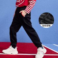 【2件3折:59】巴拉巴拉旗下 巴帝巴帝2019秋新品男童中大童时尚休闲运动加绒保暖长裤