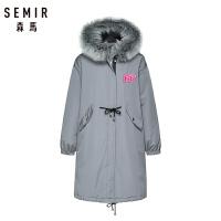 【粉红豹】森马羽绒服女冬季时尚中长款印花连帽潮外套保暖