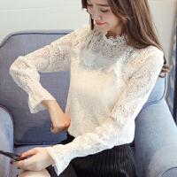 半高领蕾丝打底衫女外穿小衫2018春装新款加绒加厚长袖蕾丝衫上衣