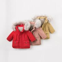 戴维贝拉男女童宝宝冬装新款连帽加厚羽绒服DB8838