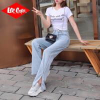 Lee Cooper2019夏季牛仔裤女直筒柔软宽松高腰显瘦浅色薄款裤子