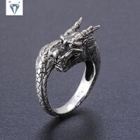925银男士戒指霸气韩版时尚男款银戒复古 银生肖龙银饰品