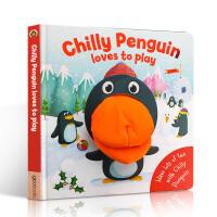 英文原版Chilly Penguin loves to play企鹅(带玩偶手偶)趣味玩具书 大开本绘本 亲子互动 纸