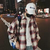 情侣装条纹衬衫2018秋季新款男士宽松上衣青少年韩版外套潮流男装