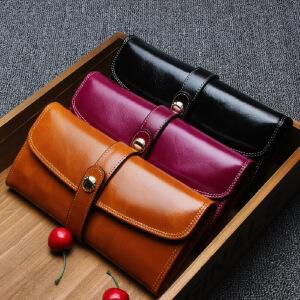 【春夏新品惠】新款头层牛皮包长款女士真皮钱包大容量钱包手拿包零钱包