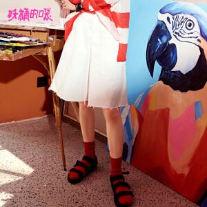 【低至1折起】妖精的口袋甜美五分裤新款宽松底摆学生毛边休闲裤女