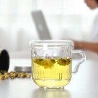 办公室专用平盖大耳朵杯350ml 手工耐热玻璃三件过滤花茶杯玻璃茶杯带盖办公家用水杯过滤