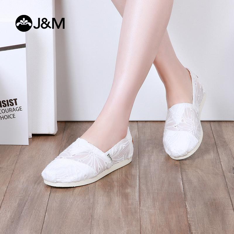 jm快乐玛丽女鞋夏季新款一脚蹬帆布鞋女士懒人布鞋休闲小白鞋 时尚小白鞋 舒适透气 时尚潮流