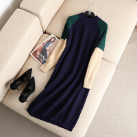 大码女装秋冬新款复古撞色半高领针织连衣裙胖mm长袖毛线长裙