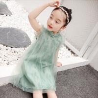 女童夏装裙子童装中大童旗袍蕾丝网纱蓬蓬纯色连衣裙儿童公主裙
