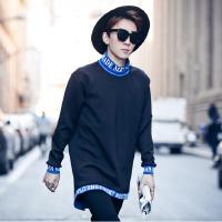 春装宽松男外套高领套头卫衣潮个性拼接青少年长袖套头衫韩版休闲