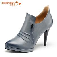 红蜻蜓・深口鞋子女新款单鞋女粗跟尖头皮鞋女士高跟鞋真皮