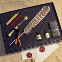 20180529150849649欧式复古羽毛笔火漆印章礼盒哈利波特蘸水钢笔字母封蜡套装
