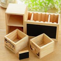 笔筒小摆件可爱多功能办公桌方形实木质学生大笔筒 笔筒小黑板