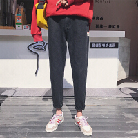 18夏季新款纯色牛仔裤韩版男士九分裤贴标复古牛仔裤