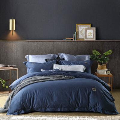 百丽丝家纺 水星出品长绒棉简约纯色床单被套全棉四件套件 安德瑞