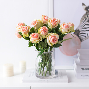 奇居良品 绢布玫瑰花仿真花艺配玻璃花瓶 整体花艺装饰摆件