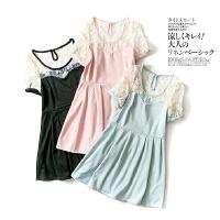 夏季女装圆领 短袖甜美瑞丽 蕾丝拼接修身显瘦清新连衣裙H15