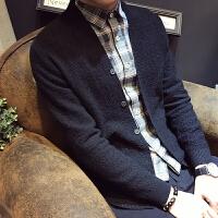 韩版潮流休闲上衣纯色修身男针织外套秋季开衫毛衣男外套