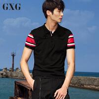 GXG短袖POLO衫男装 夏季男士时尚休闲潮流个性黑色几何短袖POLO恤