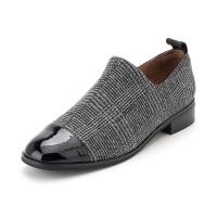 【领券减100】星期六(ST&SAT)秋季绒面羊皮革/织物拼接低跟时尚单鞋SS83112245