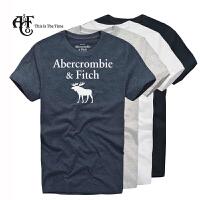 Abercrombie & Fitch 男式图案款 烫印工艺 圆领短袖T恤