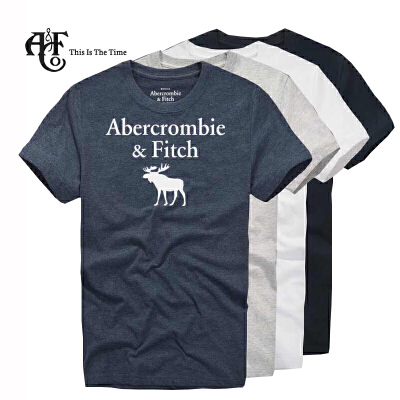 Abercrombie & Fitch 男式图案款 烫印工艺 圆领短袖T恤经典圆领T恤 柔软棉质面料 舒适自然