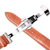 手表带男女士蝴蝶扣牛皮表带通用天梭浪琴手表配件手链