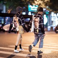 2018情侣装欧美街头格子拼接春季衬衫男女宽松BF风学生嘻哈衬衣潮