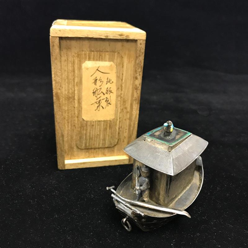 清 纯银錾刻芦雁图船型七宝烧顶香炉