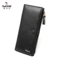 啄木鸟女士钱包牛皮长款手拿包多功能韩版潮流卡包手机包零钱包