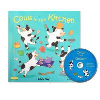 【全店300减100】英文原版进口绘本 cows in the kitchen 厨房里的牛洞洞书+cd