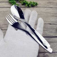 旅行学生餐具创意可爱小孩儿童吃饭勺子叉子304不锈钢勺叉卡通勺B31