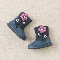 【加绒】davebella戴维贝拉女童秋冬中筒靴子 宝宝圆头皮鞋DB9303