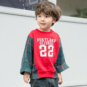 【尾品汇 129元3件】男童卫衣帽衫小童2018新款春秋蝙蝠袖拼接儿童外衣上衣韩版