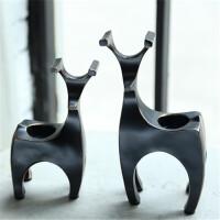 创意欧式简约现代家居装饰品 小鹿树脂烛台摆件套装
