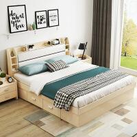 【限时直降 质保三年】现代倾心高箱床软包床头储物床 带抽屉1.8米床卧室气动储物床