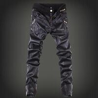 皮裤男士小脚修身男式皮裤朋克紧身显瘦长裤子潮男式拉链个性拼接夜店