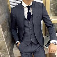 新品18四季款男士韩版修身立领结婚礼服西服套装潮流青年小伙三件
