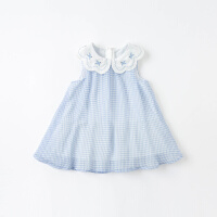 戴维贝拉女童连衣裙2021夏装新款女宝宝洋气格子公主裙儿童裙子